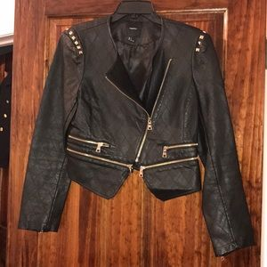Black Zipper Moto Leather Jacket